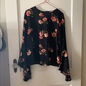 Floral Black and White Polka Dotted Blouse